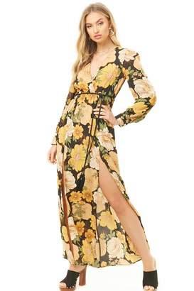 Forever 21 M-Slit Floral Print Maxi Dress