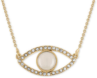 Rachel Roy Gold-Tone Pave White Stone Eye Pendant Necklace
