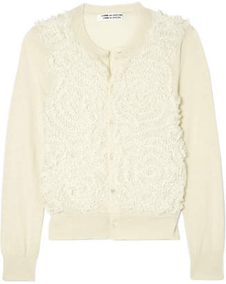 Comme des Garcons Tulle-embroidered Wool Cardigan - Off-white