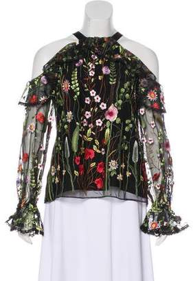 Alexis Embroidered Cold Shoulder Top