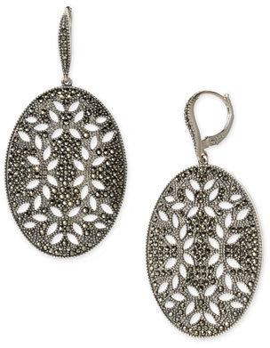 Judith Jack Sterling Silver & Marcasite Oval Cutout Earrings