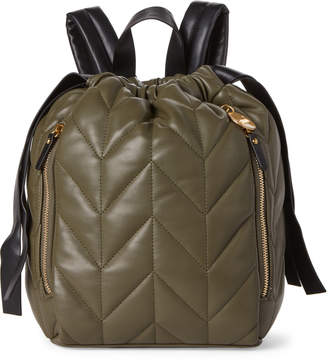 Studio 33 Army Green Nifty Quilted Drawstring Backpack