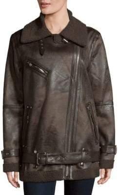 AVEC LES FILLES Belted Faux Fur Collar Biker Jacket