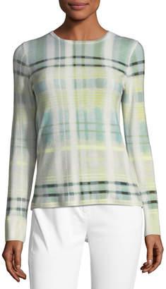 St. John Cashmere Plaid-Print Sweater
