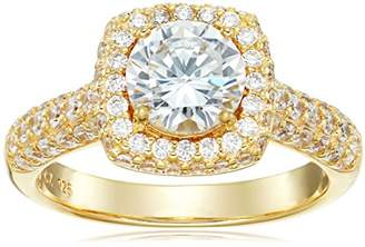 18k Gold Plated Sterling Silver Cubic Zirconia Halo Ring
