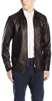 Theory Men's Zip 1pkt Leather Aires Nappa Shirt Jacket