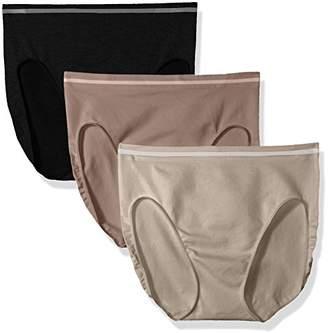 Ellen Tracy Women's 3 Pack Seamless Tipping Hi Cut Panty