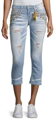 Robin's Jeans Marilyn Studded Destroyed Capri Jeans, Light Blue