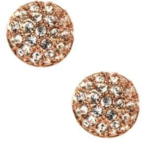Givenchy Rose Gold Plated and Crystal Button Stud Earrings