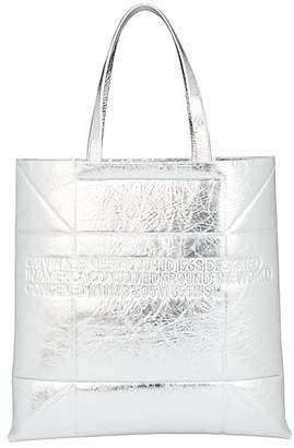 Calvin Klein Women's Small Geometric Leather Tote Bag - Silver