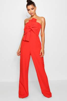 boohoo Boutique Bow Front Occasion Jumpsuit