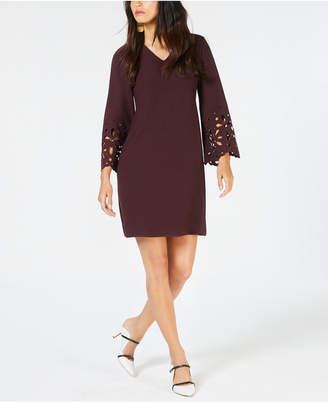 Alfani V-Neck Lasercut A-Line Dress, Created for Macy's