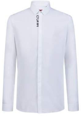 698142f68 HUGO Boss Extra-slim-fit shirt logo-edged concealed placket 15 Open White