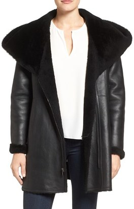 Women's Cole Haan Genuine Curly Lamb Shearling Hooded Coat $2,000 thestylecure.com