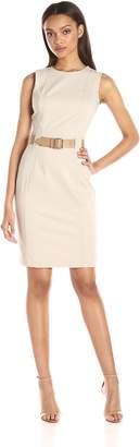 Calvin Klein Women's Sleeveless Round Neck Sheath Dress with Princess Seams