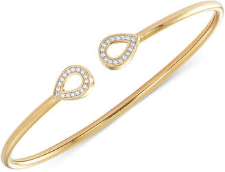 Wrapped Diamond Teardrop Flexy Bangle Bracelet (1/6 ct. t.w.) in 14k Gold-Plated Sterling Silver, Created for Macy's