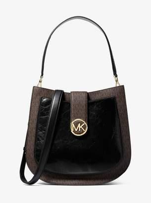 862cd5fbe397 MICHAEL Michael Kors Lillie Large Crinkled Leather and Logo Messenger Bag