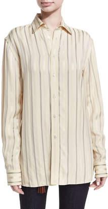 Ralph Lauren Adrien Satin-Stripe Boyfriend Shirt