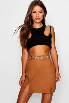 boohoo Petite Chain Detail Waist Woven Mini Skirt