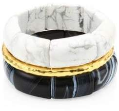 Nest Black and White Agate & 24K GoldplatedStretch Bracelet