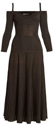 Alexander McQueen Cut Out Shoulder Wool Blend Dress - Womens - Black