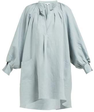 Berenice White Story Linen Painter Dress - Womens - Blue