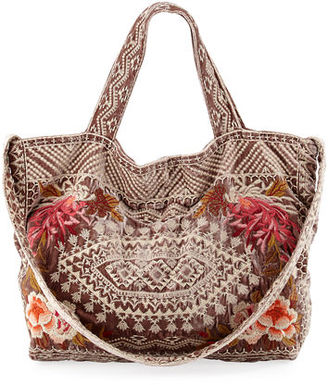 Johnny Was Chrys Velvet Embroidered Tote Bag $210 thestylecure.com