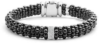 Lagos Black Caviar Ceramic Bracelet with Sterling Silver and 1 Diamond Bar