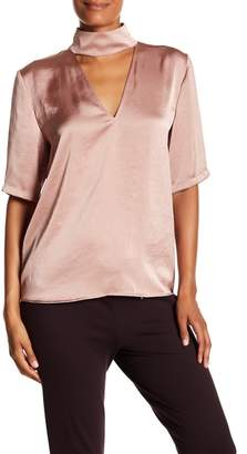 Theory Mock Collar Cutout Satin Blouse