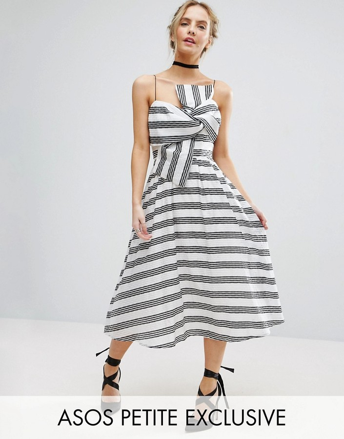 Asos ASOS Petite ASOS PETITE Stripe Bow Midi Dress