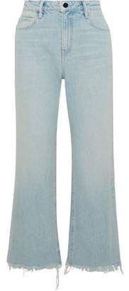 Alexander Wang Tame Cropped Frayed High-rise Straight-leg Jeans