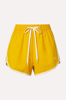 Miu Miu Embroidered Wool And Mohair-blend Shorts - Mustard