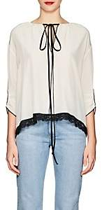 Marc Jacobs Women's Lace-Trimmed Silk Blouse - Ivory