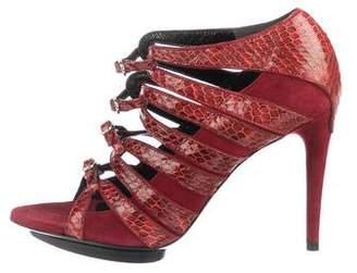 Balenciaga Snakeskin Multistrap Sandals