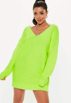Missguided Lime V Neck Ribbed Knit Sweater Dress