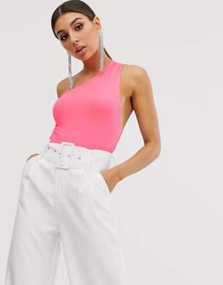 Asos Design DESIGN asymmetric body with open strap back in neon pink