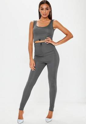 Missguided Grey Ribbed Toggle Leggings