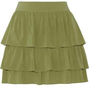 Alice + Olivia Reina Tiered Stretch-Silk Mini Skirt