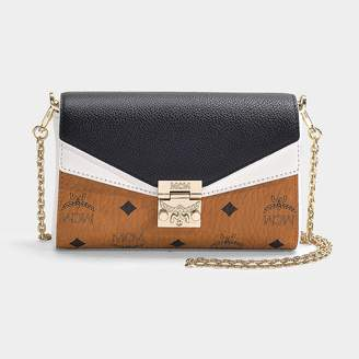 6cf88c303 MCM Millie Visetos Leather Block Small Crossbody Bag In Cognac And Black  Coated Canvas