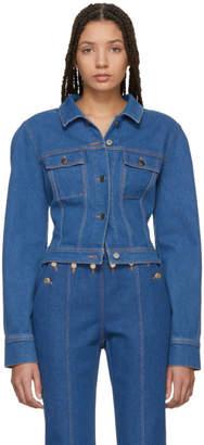 Kreist Blue Cropped Round Shoulders Denim Jacket