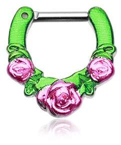 "Icon Eyewear WildKlass Jewelry Septum Clicker 14g 1/4"" 6mm Rose Garden Green Pink Septum Ring"