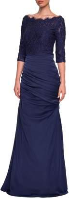 La Femme Lace Top Trumpet Gown