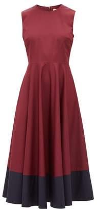 Roksanda Athena Colour Block Cotton Dress - Womens - Burgundy Multi