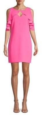 Trina Turk Ruffle Cold-Shoulder Sheath Dress