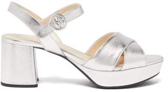 Prada Platform Metallic Leather Sandals - Womens - Silver