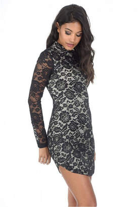 AX Paris and High Neck Long Sleeved Lace Mini Dress