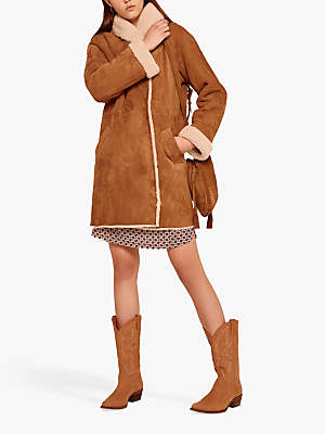 Gerard Darel Max Sheepskin Coat, Camel