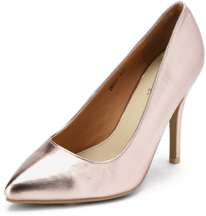 South Fisher Pointed Toe Court Shoes - Metallic Rose Gold