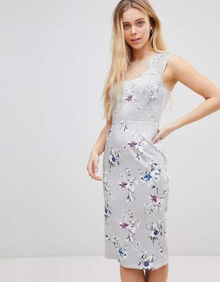 Girls On Film Floral Midi Dress With Lace Top