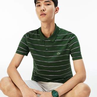 Lacoste Men's Regular Fit Striped Mini Pique Polo
